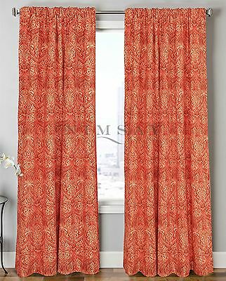 Emperor Damask Pair of Curtains with Tiebacks Solar Thermal Blocking Lined