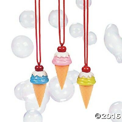 Kids Bubbles Box of 12 in a Ice Cream Cone Necklace Bottle 3 Colors US SELLER