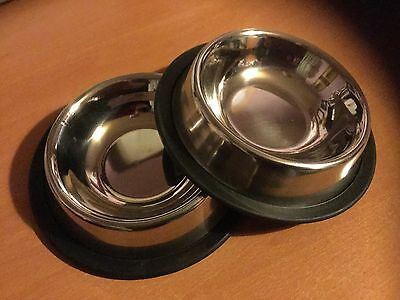 CATS PROTECTION SMALL STAINLESS STEEL PACK OF 2 BOWLS RUBBER BOTTOMED *reduced!* • EUR 4,32