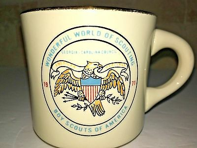 BOY SCOUTS BSA Wonderful World of Scouting Georgia Carolina Council mug 1971 vtg