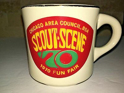 BOY SCOUTS BSA Chicago Area Council mug 1970 vtg Scout Scene Fun Fair