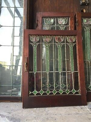 "Arts N Crafts Art Nouveau Spanish Revival Tulip Stained Glass Window 30""x24"""