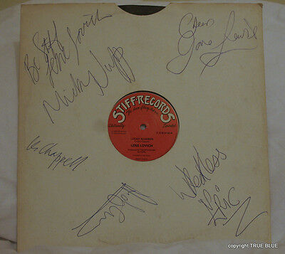 A Sleeve With Multiple Signatures Of Stiff Records Artists. (Sleeve Only).