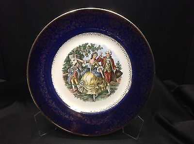 Imperial Salem China Cobalt Blue 23KT Gold Service Plate Victorian Collectable