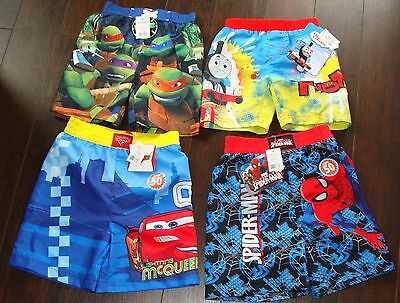 New Boys Bathing Suit Spiderman Cars Ninja Turtles Thomas & Friends 2T 3T 5T Nwt
