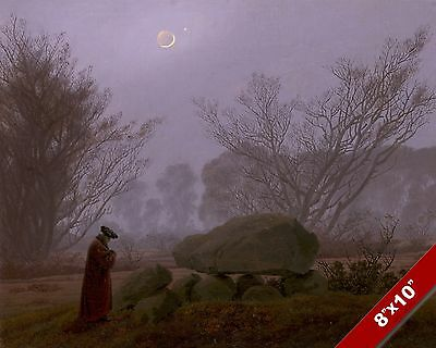 A Walk At Dusk Moonlit Symbolic Scenic Landscape Art Painting Real Canvas Print