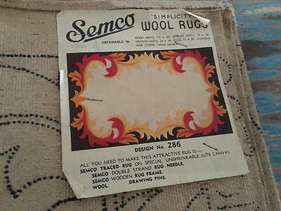 VINTAGE EMBROIDERY/TAPESTRY  - ART DECO- SEMCO - No 286  WOOL RUG -   RARE