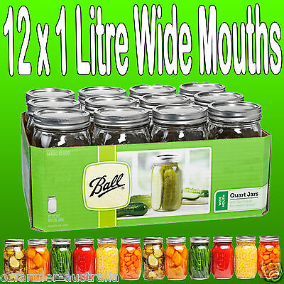 12 x 950ml Quart Wide Mouth Ball Mason Australia Preserving Jars BPA Free