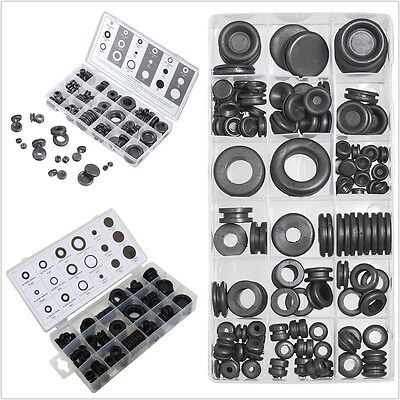 125pc Black Rubber Grommet Firewall Hole Plug Electrical Wire Gasket Assortment
