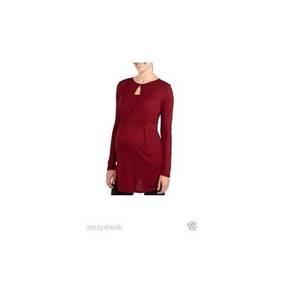 Maternity Long Sleeve Cinch Front Nursing Top, Cranberry, Xlarge Introspect