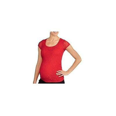 Maternity Short Sleeve Lace Tee W/Side Ruching, Red, Xlarge Planet Motherhood