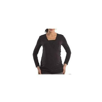 Great Expectations Maternity Long Sleeve Crossover Top, Black, Xxl