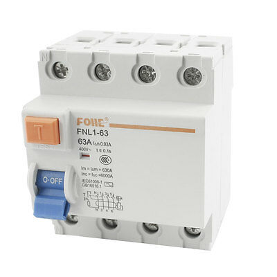 FNL1-63 On/Off Switch Single Pole Residual Current Circuit Breaker AC400V 63A
