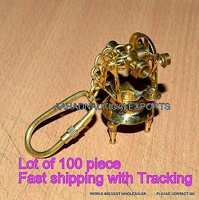 Nautical Brass Theodolite Key Chain Shiny Brass Vintage Collectible Key Ring