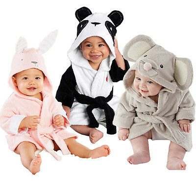 Boy girl Animal Baby bathrobe baby hooded bath towel infant bathing Honey NEW