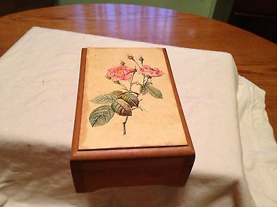 """Wooden Music Box With Roses """"The Way We Were"""""""