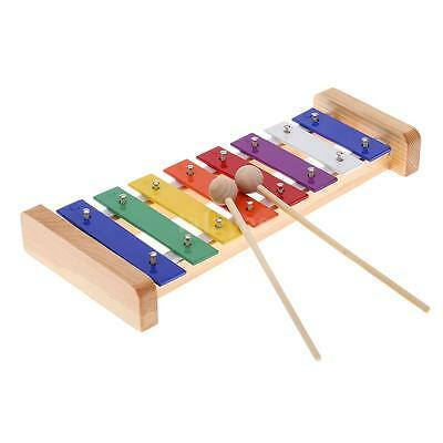 Wood Pine Xylophone 8-Note 3mm Colorful Aluminum Plate C Key Toddle Musical G6G6