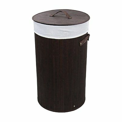 ORE International BW1202BC 24-in Round Folding Bamboo Laundry Basket with Handle