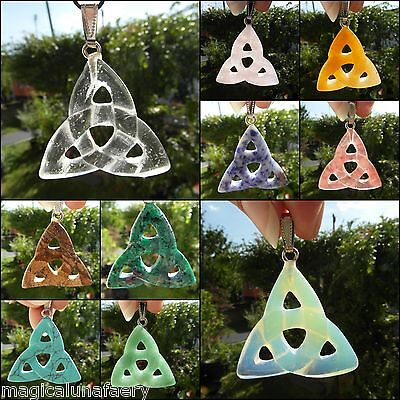Crystal Pendant Triquetra Celtic Knot Goddess Unusual Gift Carving Wicca Pagan