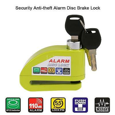 Green Motorbike Scooter Bicycle Disc Brake Lock Security Anti-theft Alarm F5J6