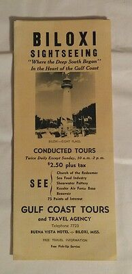 Biloxi Mississippi Gulf Tours Vintage Travel Brochure  1950's sightseeing Hotel