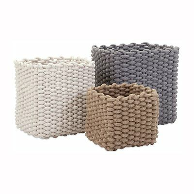 IMAX Worldwide 85886-3 Natural Cotton Rope Baskets (Set of 3)