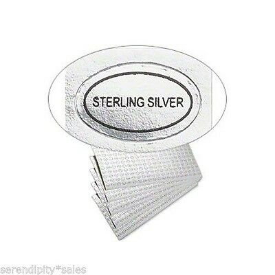 """50 Peel Off Adhesive Labels Tags ~ Oval 1/2"""" x 5/16"""" Marked """"STERLING SILVER"""""""