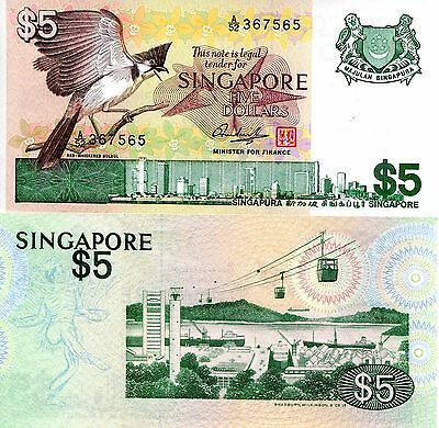SINGAPORE 5 Dollars Banknote World Paper Money UNC Currency Pick p10 Bird Note