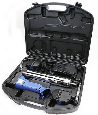 "12V Cordless Grease Gun 7500PSI 30"" High Pressure Hose 2 Battery quick charger"