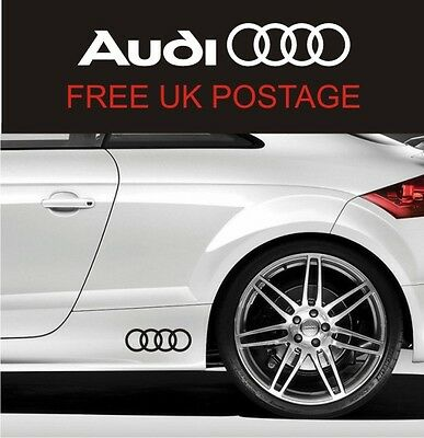 AUDI Rings Side Skirt Decals Stickers TT S3 S4 S5 S6 S-line Quattro All Colours