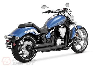 Vance & Hines Exhaust Black Twin Slash Staggered Yamaha Stryker  48501