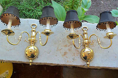 Vintage Pair Of Double Arm Classical Regency Baluster Turned Brass Sconces Mint