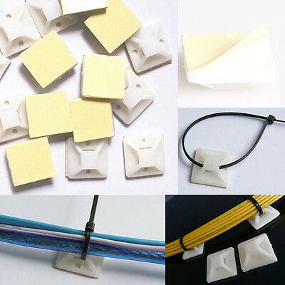 50PCS Sticky  Self-adhesive Cable Mount with Eyelet for Cable Ties 20mmx20mm