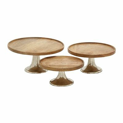 Woodland Imports 14668 Wood and Metal Cake Plates (set of 3)