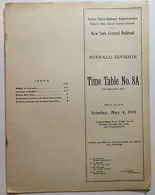 New York Central Railroad 1919 Employee Timetable -  Buffalo Division