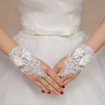 Simple #A Bride Wedding Evening Fingerless Lace Bridal Gloves Wedding Accessory