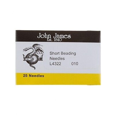 Size 10 John James Short Beading Needles 32.5mm Pack of 25 Made in UK (E39/3)