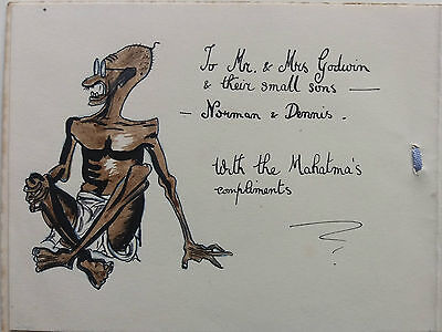 INDIA 1930s CHRISTMAS CARD WITH HAND - PAINTED CARICATURE OF MAHATMA GANDHI