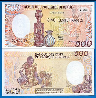 Congo Republic P-8 500 Francs Year 1990 Uncirculated Banknote