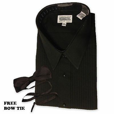 "Mens Black Tuxedo Shirt Lay Down Collar 1/4"" Pleats NEW Sz L-5XL"