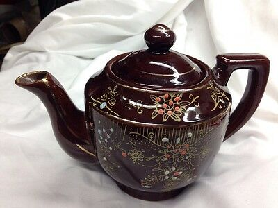 Teapot Japan Hand Painted Brown Porcelain Tea pot with Embossed Flowers