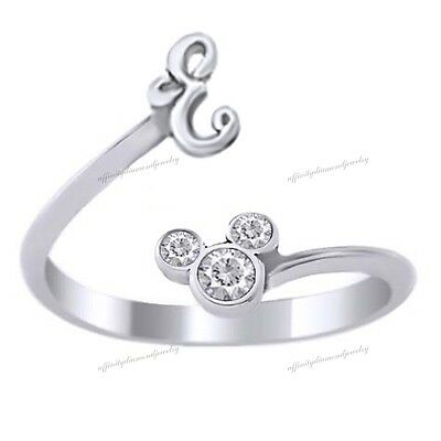 Silver Plated Disney Ring - Mickey Mouse Cubic Zirconia Initial E Ring
