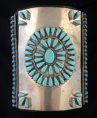 Navajo Silver and Turquoise Bow Guard Ketoh w/ Sidelights PETTIPOINT SIGNED*GR67
