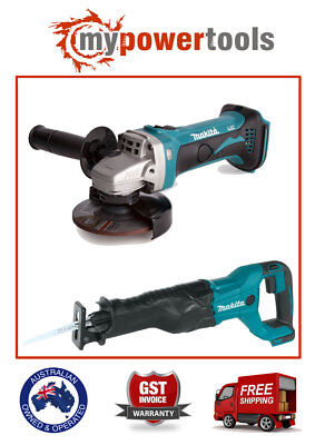 Makita Xag01 18V Li-Ion Cordless Angle Grinder + Xrj04 Reciprocating Saw Combo