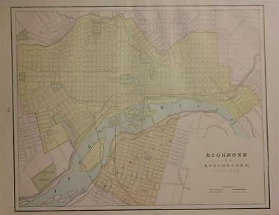 1889 Richmond & Manchester, Va. Original Color Atlas Map** 127 years-old!!
