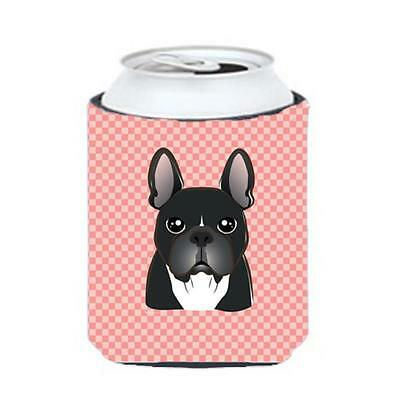 Checkerboard Pink French Bulldog Can Or Bottle Hugger, 12 Oz.