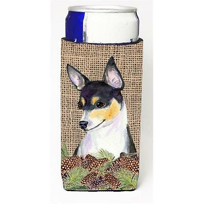 Fox Terrier On Faux Burlap With Pine Cones Michelob Ultra bottle sleeve for S...