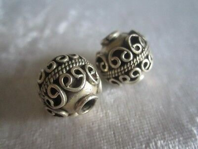 Two 2 Sterling Silver Bali Focal Beads Round with Decorative Band 12g 925