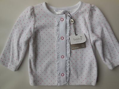 Baby Infant Girl Soft Velour Spots Cardigan Jacket Size 000 Fits 0-3M *new *gift