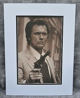 """Clint Eastwood Double-Matted Heavy Stock Photo Display 12"""" x 16"""" """"Dirty Harry"""""""